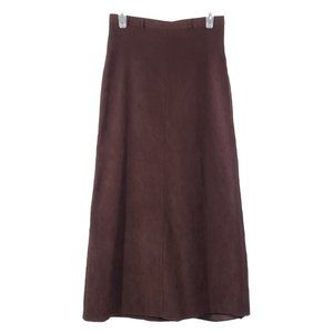 VINTAGE Maxi Skirt Faux Suede Brown High Rise